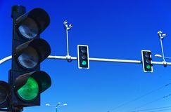 Traffic lights over blue sky. Traffic lights over blue sky Stock Image