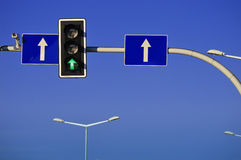 Traffic lights over blue sky Royalty Free Stock Photos