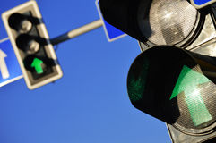 Traffic lights over blue sky Royalty Free Stock Photography