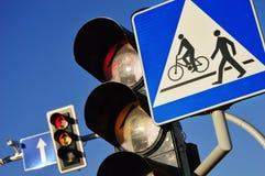 Traffic lights over blue sky Stock Image