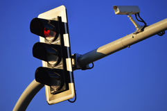 Traffic lights over blue sky Royalty Free Stock Image