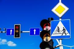 Traffic lights over blue sky.  Stock Photos