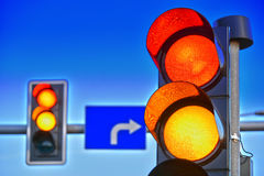 Traffic lights over blue sky.  Royalty Free Stock Photos