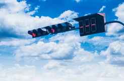 Traffic lights over blue sky. Backgrounds Royalty Free Stock Photography