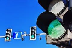 Traffic lights over blue sky. Green light Stock Photography