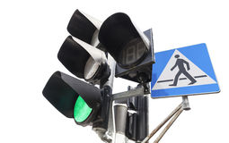Traffic lights and pedestrian crossing sign. Royalty Free Stock Images