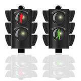 Traffic lights for pedestrians with man Royalty Free Stock Photo