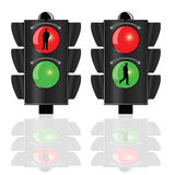 Traffic lights for pedestrians vector Royalty Free Stock Photos
