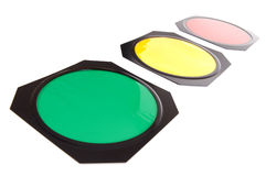 Traffic lights perspective. On white background Stock Images