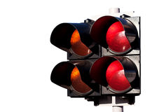 Traffic lights of racing on white. Double of traffic lights, orange and red, to sports car racing isolated on white Stock Photography