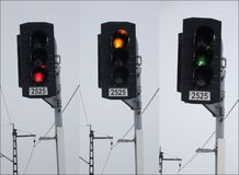 Traffic lights at the railroad Royalty Free Stock Photography