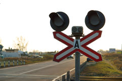 Traffic lights, railroad crossing Stock Image