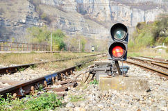 Traffic lights on railway Stock Image