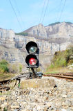 Traffic lights on railway Royalty Free Stock Images
