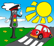 Traffic lights with red car Stock Images