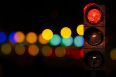 Traffic lights red color at night Royalty Free Stock Photos