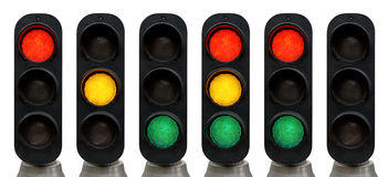Traffic lights. Red, Green, Yellow Traffic lights isolated over white background Stock Photo