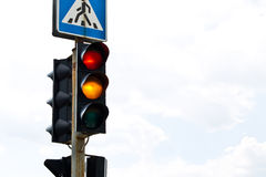 Traffic lights. Red traffic light on white background Stock Photography
