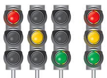 Traffic lights. Red light yellow light green light Stock Images