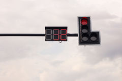 Traffic lights The red lights. Show the red car Stock Photos