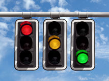 Traffic lights - red yellow green against sky Royalty Free Stock Images
