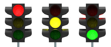 Traffic lights. Red, yellow and green isolated over white background 3D rendering Royalty Free Stock Photos