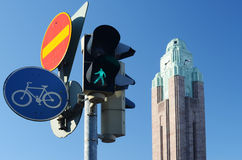 Traffic lights and road signs Stock Photo