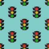 Traffic lights safety stop seamless pattern stoplight lamp control transportation warning semaphore vector illustration. Intersection street forbidden Royalty Free Stock Photo