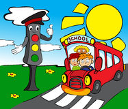 Traffic lights with school bus Stock Photo