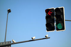 Traffic lights with Security camera. Traffic light with Security camera  under blue sky Royalty Free Stock Images