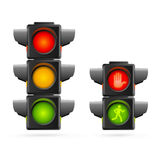 Traffic Lights Set Realistic. Vector Royalty Free Stock Image