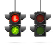 Traffic Lights Set Realistic. Vector Stock Photos