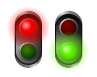Traffic lights. Set of red and green traffic lights Stock Photo