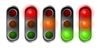 Traffic lights. Set of red, orange and green traffic lights Royalty Free Stock Images