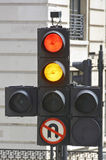 Traffic lights showing red and amber Royalty Free Stock Image