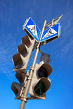 Traffic lights and sign Stock Photo