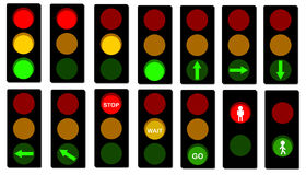 Traffic Lights signals. Various kind of street traffic lights signals Collection Royalty Free Stock Image