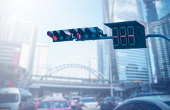 Traffic lights stop over traffic jam in the city Royalty Free Stock Photography