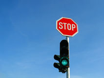 Traffic lights and stop sign Stock Images
