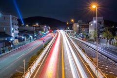 Traffic lights on the street of Kyoto Stock Photo