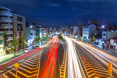 Traffic lights on the street of Kyoto Stock Photos