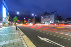 Traffic lights on the street of Kyoto Royalty Free Stock Image