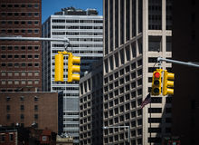 Traffic lights on the streets of Manhattan Royalty Free Stock Images