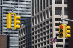 Traffic lights on the streets of Manhattan Stock Photography