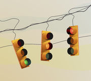 Traffic lights and sunset Stock Photography