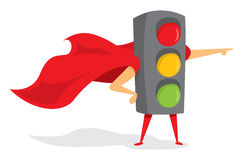 Traffic lights super hero with cape Stock Images