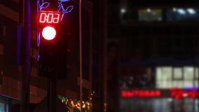 Traffic lights with timer near building at dark night. In city stock footage