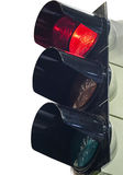 Traffic lights to control traffic. Red traffic light signal prohibits the movement Royalty Free Stock Images