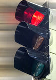 Traffic lights to control traffic. Red traffic light signal prohibits the movement Royalty Free Stock Photo