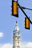 Traffic lights and Tower of Philadelphia City Hall - American national historic landmark. Traffic lights and Tower of Philadelphia City Hall, Pennsylvania Stock Photo